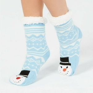 charter club Snow man slipper   slip grippers sock